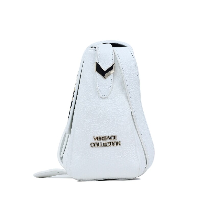 bd90ba46 Versace Collection Solid White Grained Leather Arrow Shoulder Bag