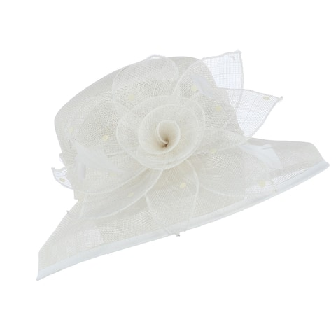 Something Special Women's Small Brim Sinamay Hat with Flower and Petal Trim