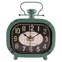 La Crosse 404-3425 Analog Metal Clock with Turquoise Case