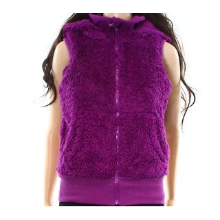 Kensie NEW Deep Purple Womens Size XS Detachable Hood Vest Sweater