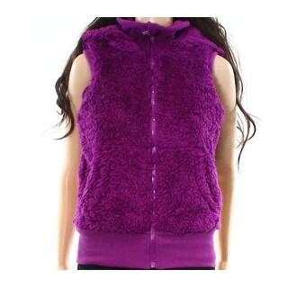Kensie NEW Purple Women's Size XS Hooded Faux Fur Full-Zip Vest