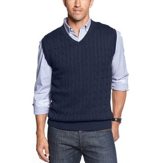 Club Room Mens Cable Knit V-Neck Sweater Vest Dark Navy Blue Cotton