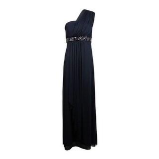 Patra Women's Beaded Pleated Chiffon Full Length Dress - 10