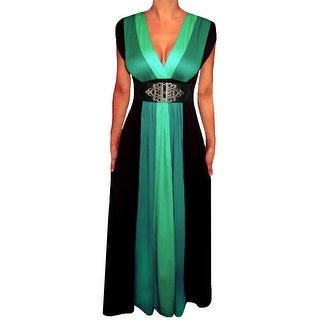 Funfash Plus Size Clothing for Women Green Black Slimming Block Cocktail Maxi Dress