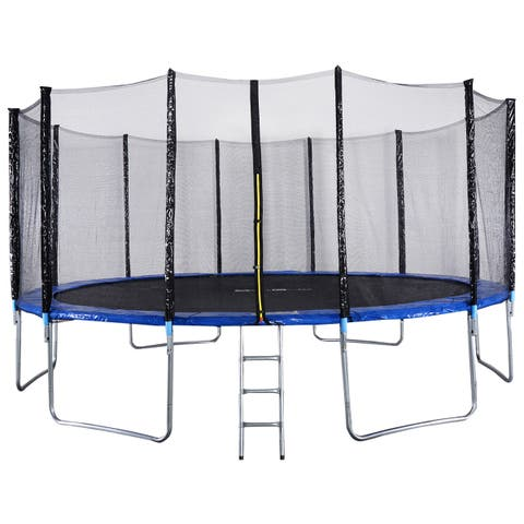 Gymax 16FT Trampoline Combo Bounce Jump Safety Enclosure Net - as pic - 14' - 16'