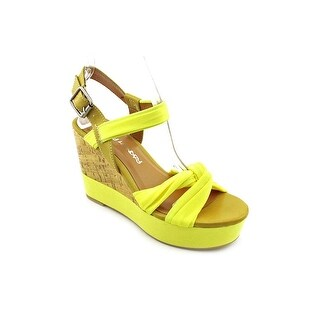 Dirty Laundry Benicia Women Open Toe Canvas Yellow Wedge Sandal