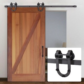 Belleze 6FT European Modern Antique Horseshoe Track Barn Interior Roller Sliding Door, (Frosted Black)