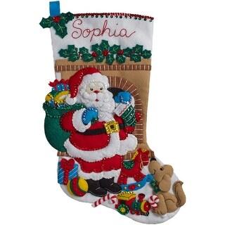 "Santa's Visit Stocking Felt Applique Kit-18"" Long"