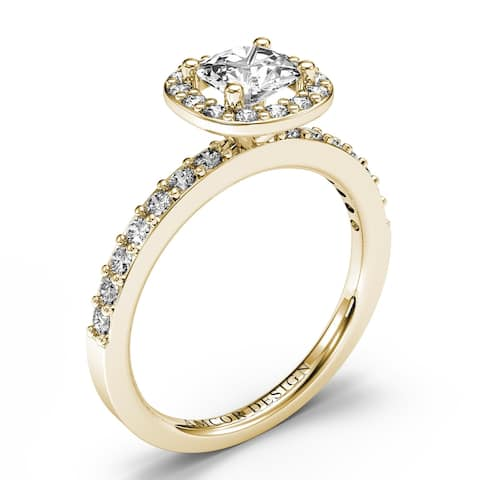 14KT Gold 0.95 CT Halo Diamond Engagement Ring Cushion Cut