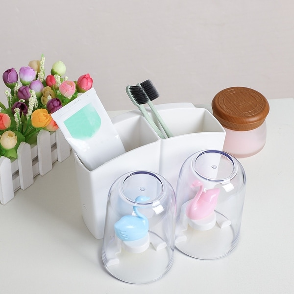 Toothbrush Holder with 2 Cups Space Saving Organizer for Kitchen