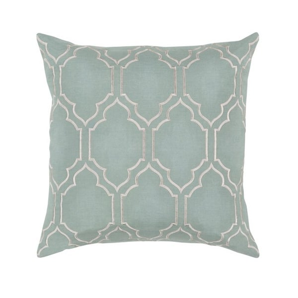 "20"" Trellis Royalty Cambridge Blue and Gainsboro Silver Decorative Throw Pillow"