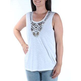 Womens White Sleeveless Scoop Neck Tunic Top Size L