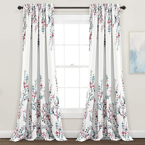 Lush Decor Mirabelle Watercolor Floral Room Darkening Window Curtain Panel Pair