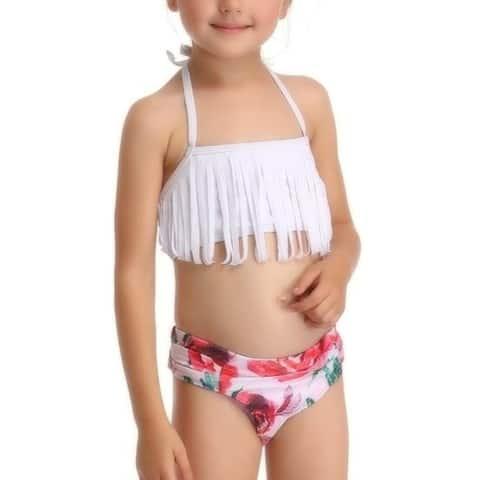 Parent-Child Swimsuit Tassel Split Cute Printed High-Waist Bikini For Mother-Girl