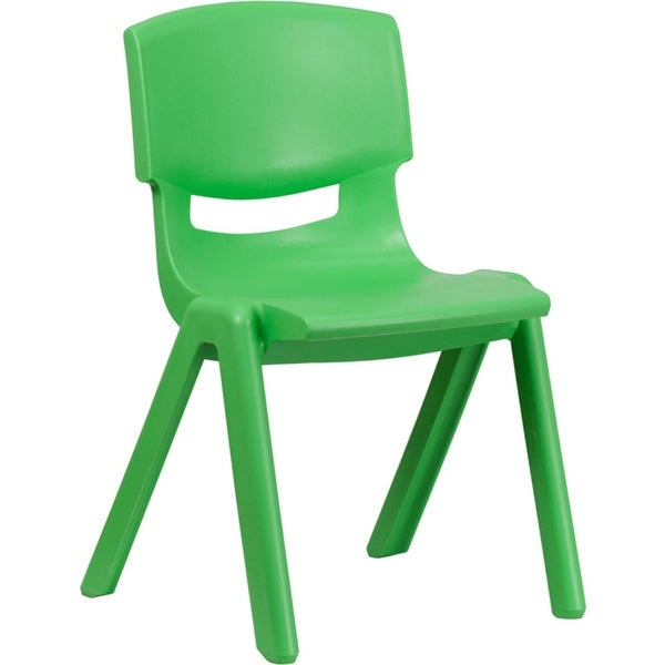 Offex Green Plastic Stackable School Chair with 15.5'' Seat Height