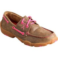 Twisted X Boots Children's YDM0015 Driving Moc Bomber/Neon Pink Leather