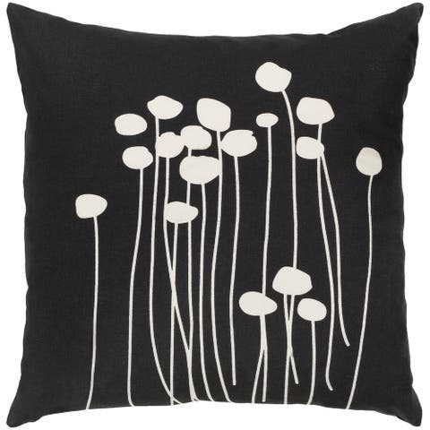 Decorative Black Carlie Floral 22-inch Feather Down Fill Throw Pillow