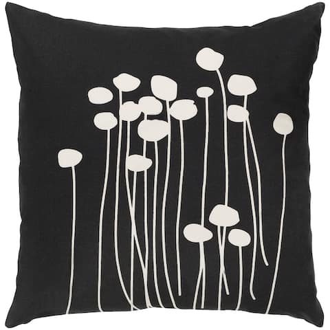 Decorative Black Carlie Floral 22-inch Poly Fill Throw Pillow