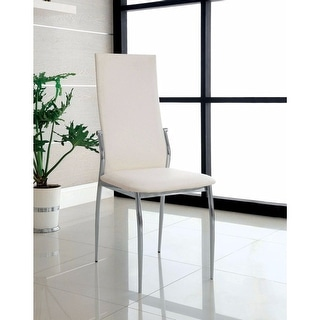 Contemporary Side Chair, White Finish, Set Of 2