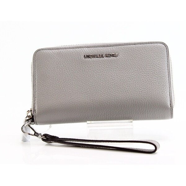 Michael Kors NEW Gray Multi-Functional Flat Wristlet Leather Wallet