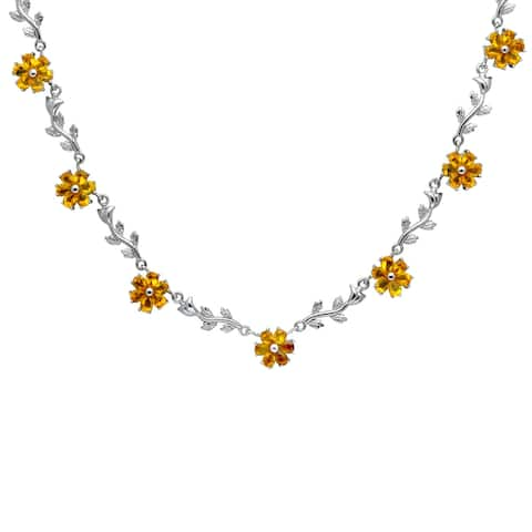 Cubic Zirconia Sterling Silver Pear Floral Necklace by Orchid Jewelry