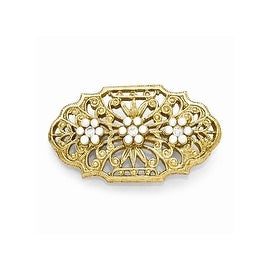 Goldtone Downton Abbey Clear Crystal and Simulated Pearl Pin