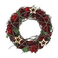 """10"""" Apples and Berries Christmas Wreath with Stars - Unlit - Red"""