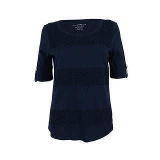 Charter Club Women's Elbow Sleeve Crochet Panel Top - intrepid blue - pm