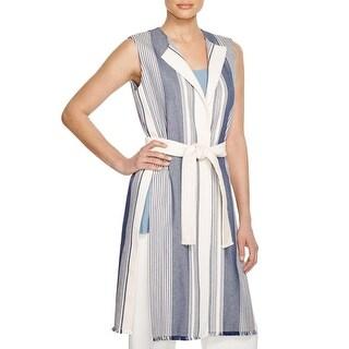Lafayette 148 Womens Vest Striped Long