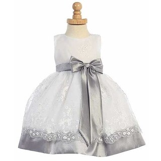 31cff4d5b4ad Shop Silver Embroidered Organza Taffeta Trim Easter Dress Girls 12M-7 - Free  Shipping Today - Overstock - 18163946