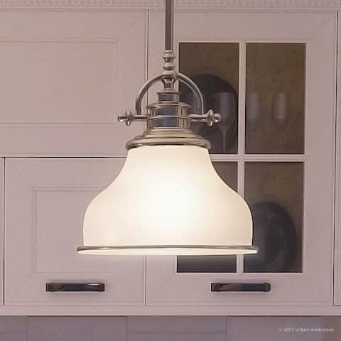 "Luxury Industrial Pendant Light, 9.5""H x 8""W, with Americana Style, Nostalgic Design, Brushed Nickel Finish - 8"