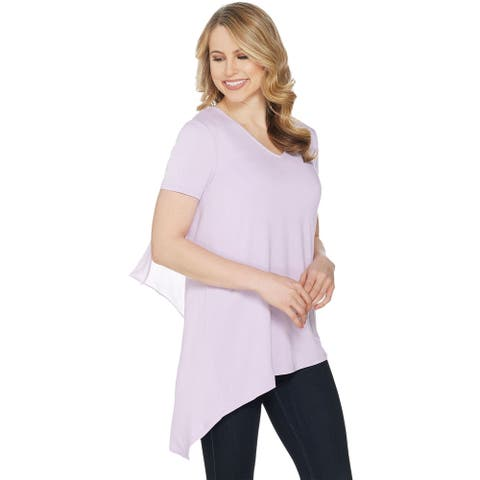 Lisa Rinna Collection Womens Chiffon Back Detail V-Neck Top 1X Orchid A303168