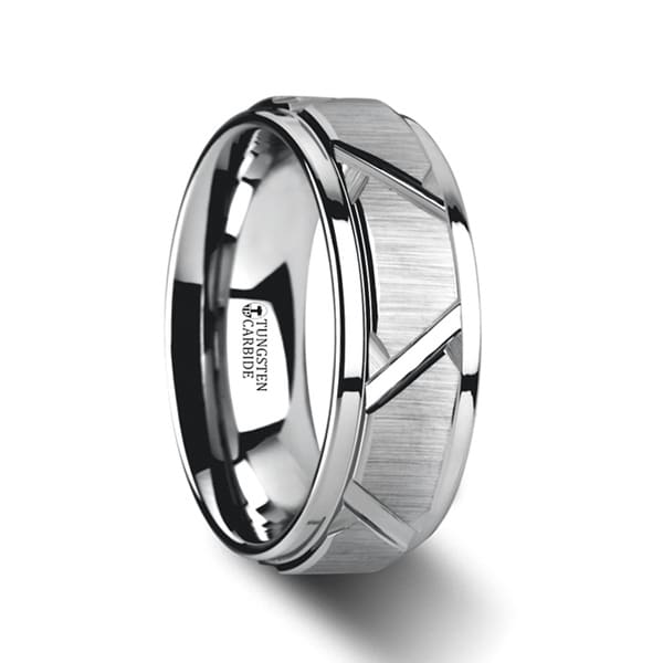 Vestige Tungsten Ring With Triangle Angle Grooves And Raised Center