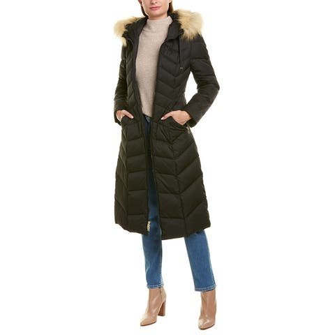 Tahari Chevron Quilted Long Coat