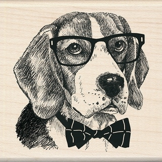 "Inkadinkado Mounted Rubber Stamp 3""X3""-Nerdy Dog"