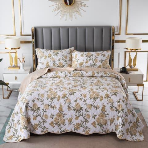 S&S Floral Bedspread Set