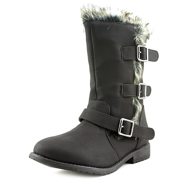 Kenneth Cole Reaction Allie Fur Youth Round Toe Leather Black Winter Boot
