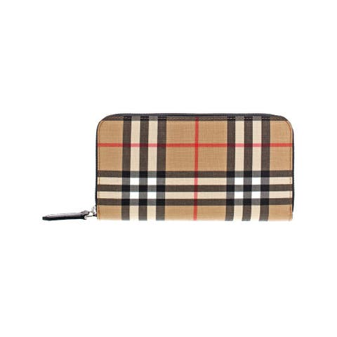 Burberry Womens Zip Around Wallet Checkered Leather Trim - Archive Beige - O/S