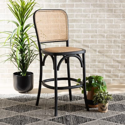 Vance Mid-Century Modern Woven Rattan and Wood Counter Stool