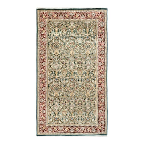 """Mogul, One-of-a-Kind Hand-Knotted Runner - Green, 6' 2"""" x 11' 4"""" - 6' 2"""" x 11' 4"""""""