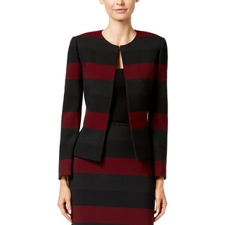 Tahari ASL Womens Petites Jacket Striped Long Sleeves