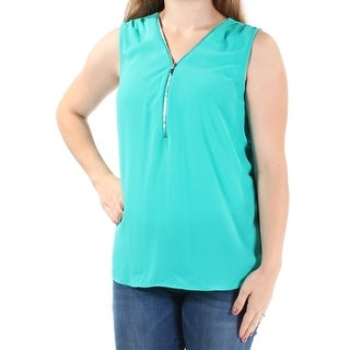 Womens Teal Sleeveless Zip Neck Top Size M