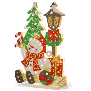 """17.5"""" Pre-Lit White Snowman Outdoor Christmas Decor with Warm White LED Lights"""