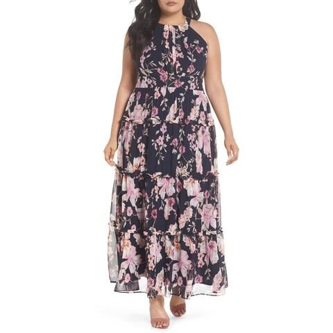 Eliza J Blue Womens Size 20W Plus Floral Ruffle Trim Maxi Dress