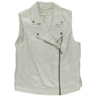 Two by Vince Camuto Womens Denim Asymmetrical Denim Vest - M
