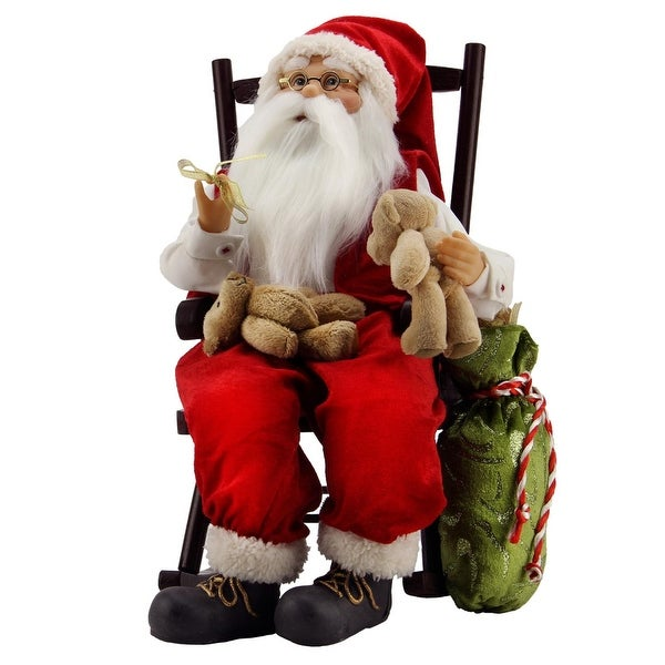 """14.75"""" Animated Santa Claus in a Rocking Chair with Bears and Gift Bag - RED"""