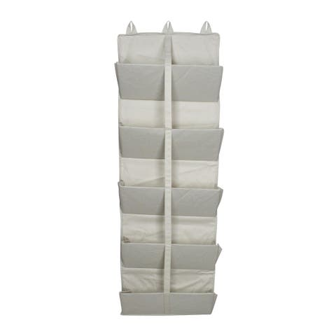 "45"" Beige 5-Tier Hanging Collapsible Door Organizer with Removable Hooks - N/A"