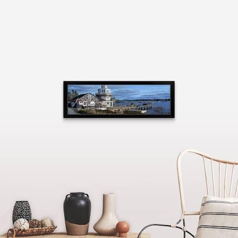 """Lobster village in New England, Maine"" Black Framed Print"