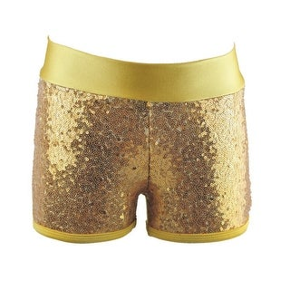 Reflectionz Little Girls Gold Sequin Shorts