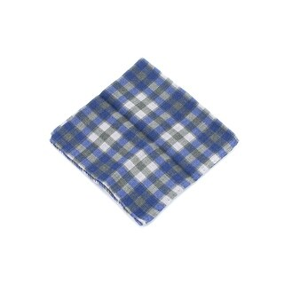 Brunello Cucinelli Men Green & Blue Plaid Wool Pocket Square